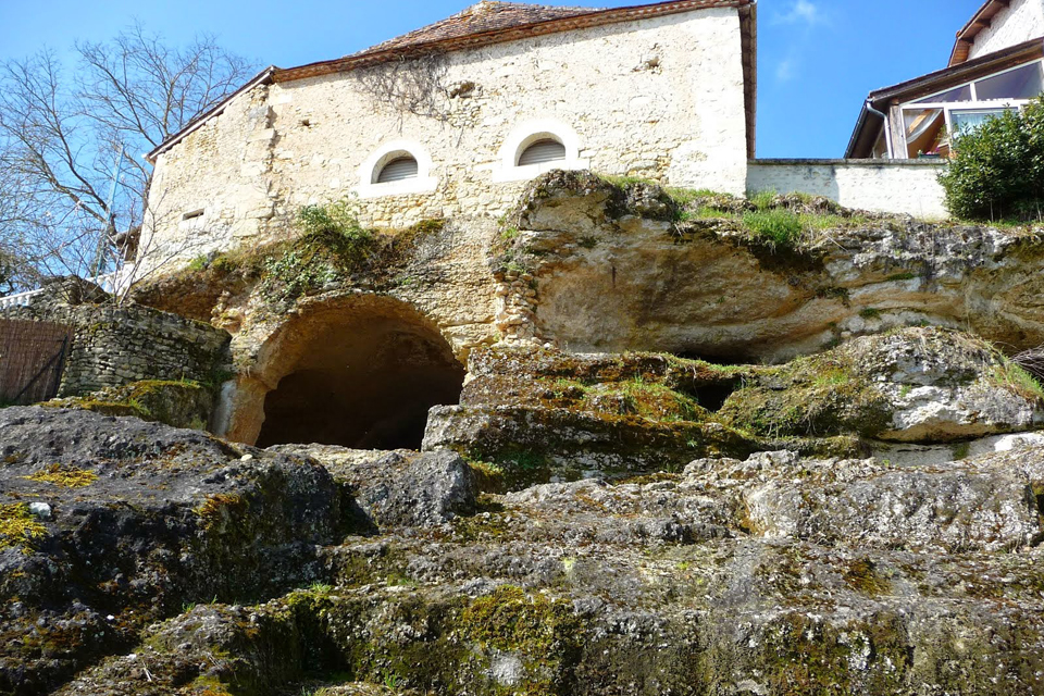 Entrance to rock-Hewn church at Gurat in Charente. Source: wikipedia