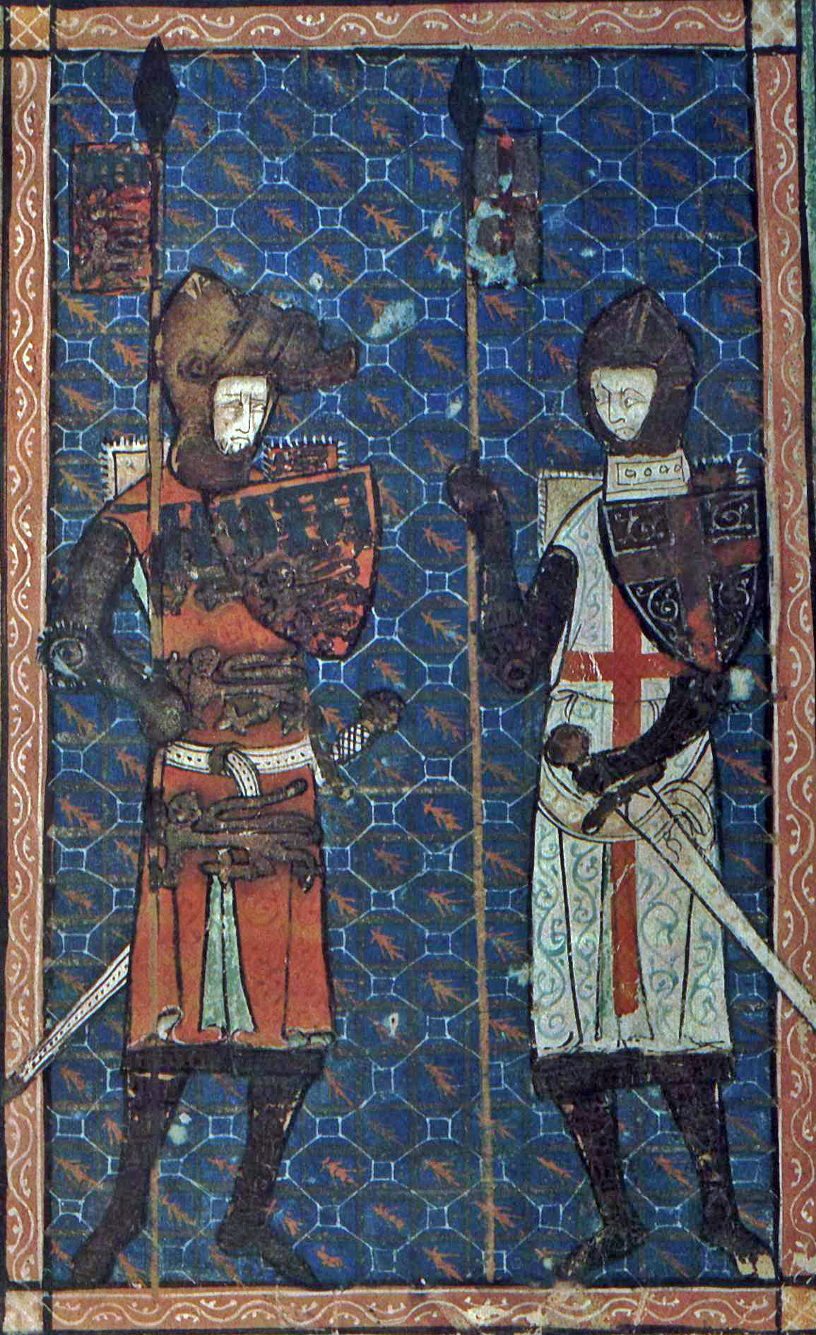 Edward Crouchback and St. George. IN: Bodleian Douce 231, Fol 1 r. Source: Wikipedia