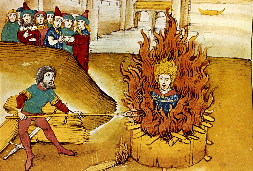 Spiezer Chronicle picturing Jan Hus on the bonfire 1485 Source Wikipedia