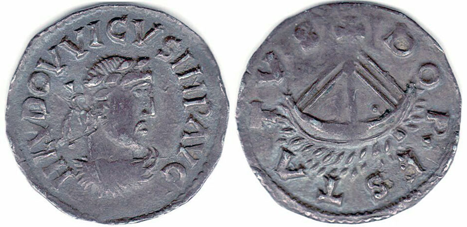 Carolingian Coin from Dorestad, after 814. Source: pinterest
