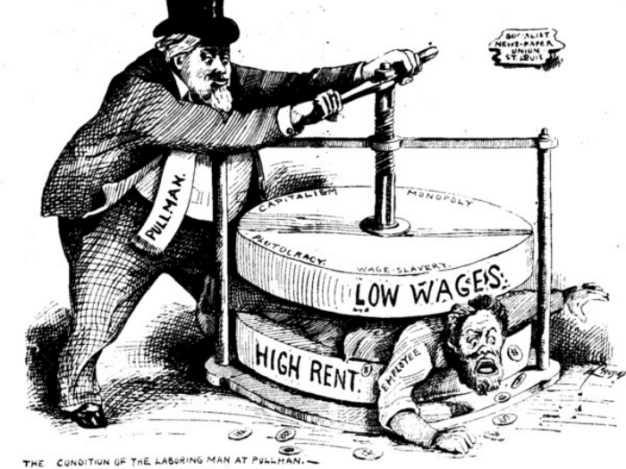 political cartoon of the condition of the working man at pullman